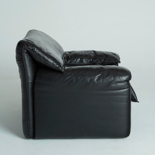 Black Leather Italian Club Chairs - Pair - Image 11 of 11