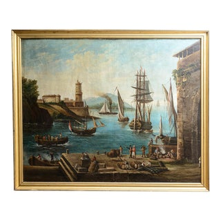 Harbour Scene Oil Painting For Sale