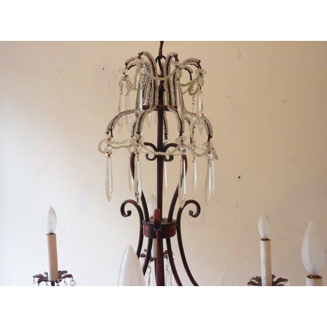 French Tole & Crystal Chandelier For Sale - Image 10 of 11