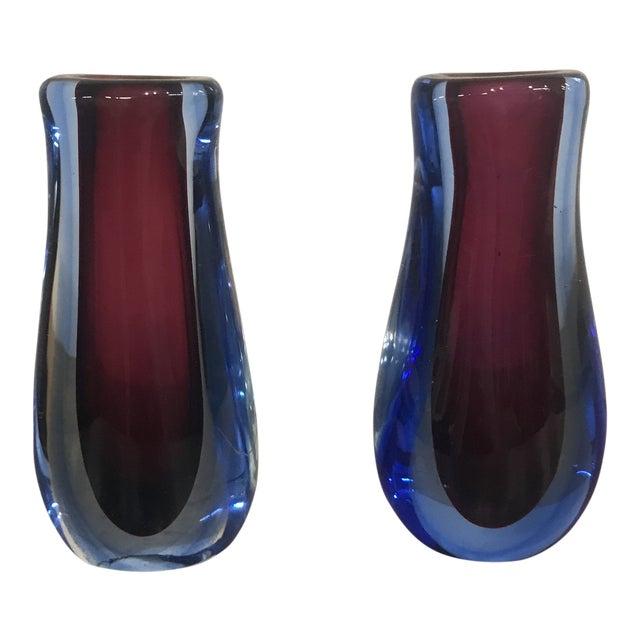 1960s Italian Blue And Purple Blown Glass Vases A Pair Chairish