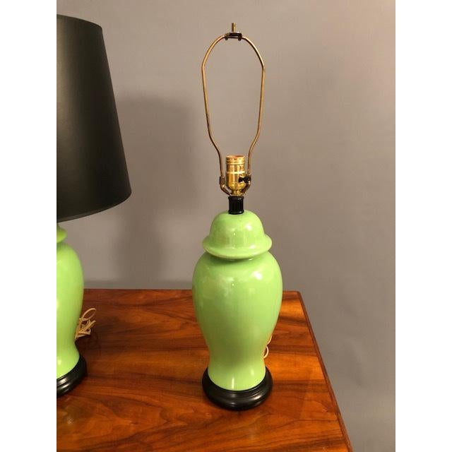Green Mid-Century Green Porcelain Table Lamps - a Pair For Sale - Image 8 of 9