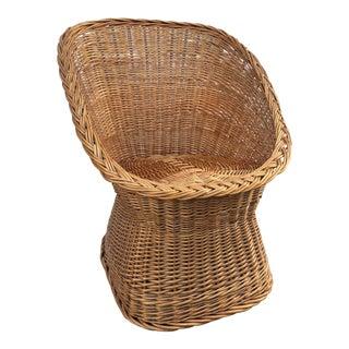 Vintage Mid Century Wicker Bucket Chair