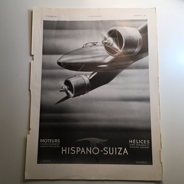 Hispano-Suiza (Spanish-Swiss) Company produced airliner and auto engines. This beautiful ad designed by AG. LeBeuf is in a...