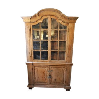 19th Century French Rustic Pine Corner Cabinet For Sale