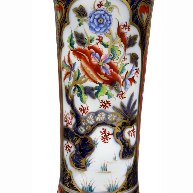Wood Victorian Imari Pattern Table Lamps - a Pair For Sale - Image 7 of 11