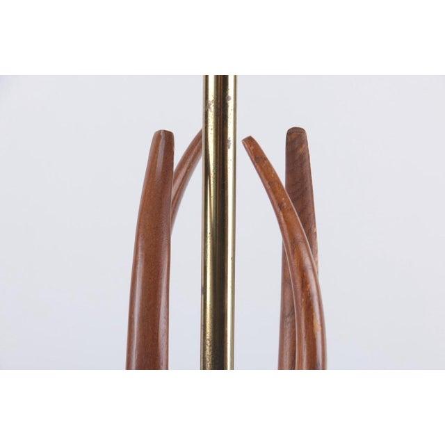 Brass Mid-Century Modern Teak Wood Table Lamp For Sale - Image 7 of 7