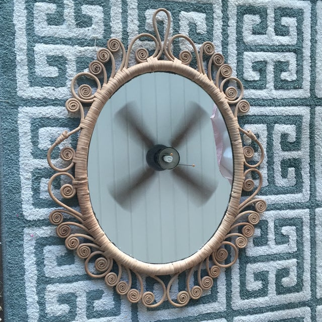 Vintage Rattan Peacock Coiled Oval Mirror - Image 4 of 11