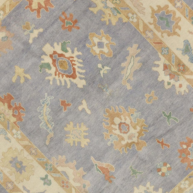 Contemporary Turkish Oushak Rug in Pastel Colors Boho Chic Style, 9'5 x 12'5 For Sale - Image 4 of 8