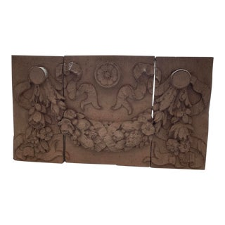 1990s Architectural Faux Limestone Frieze With Fruit and Garland Motif - Set of 3 For Sale