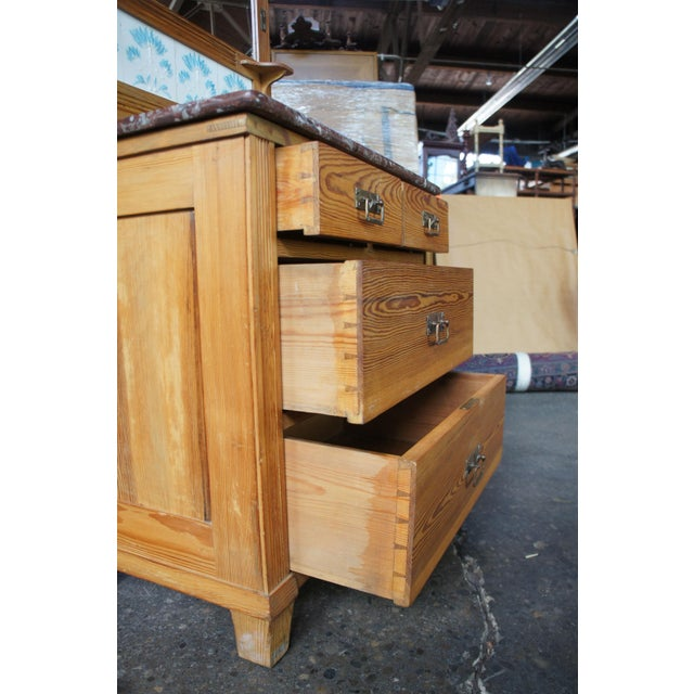 Victorian Antique Pine Marble Top Storage Cabinet For Sale - Image 6 of 13