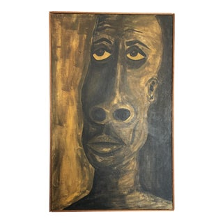 Mid-Century Aboriginal Oil Painting on Canvas For Sale