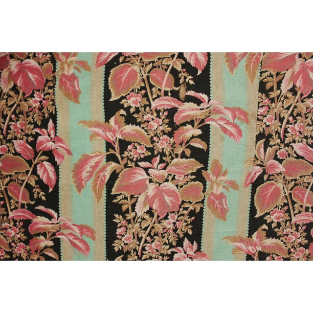Fabric Antique French Black & Teal Stripes W/ Red Pink Florals 1880 Belle Epoque For Sale - Image 9 of 11