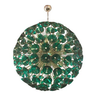Vintage Sputnik Chandelier in Brass and Green Glass Trumpets For Sale