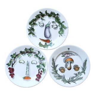 Piero Fornasetti Arcimboldo Vegetali Plates- a Set of Three. For Sale