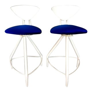 Post Modern White & Blue Swiveling Bar Stools - A Pair