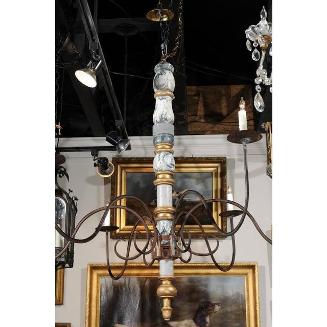 Sophisticated italian large early 20th century six light wood and italian large early 20th century six light wood and iron candelabra chandelier image 7 aloadofball Image collections