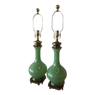 Vintage Paul Hanson Green Jadeite Glass, Brass Table Lamps - A Pair For Sale