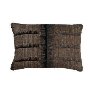 Hand Woven Indian Textile Pillow in Comb Design For Sale