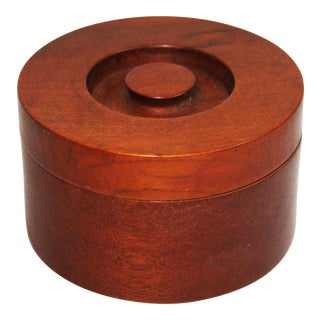 Solid Teak Lidded Bowl, Made in Denmark For Sale