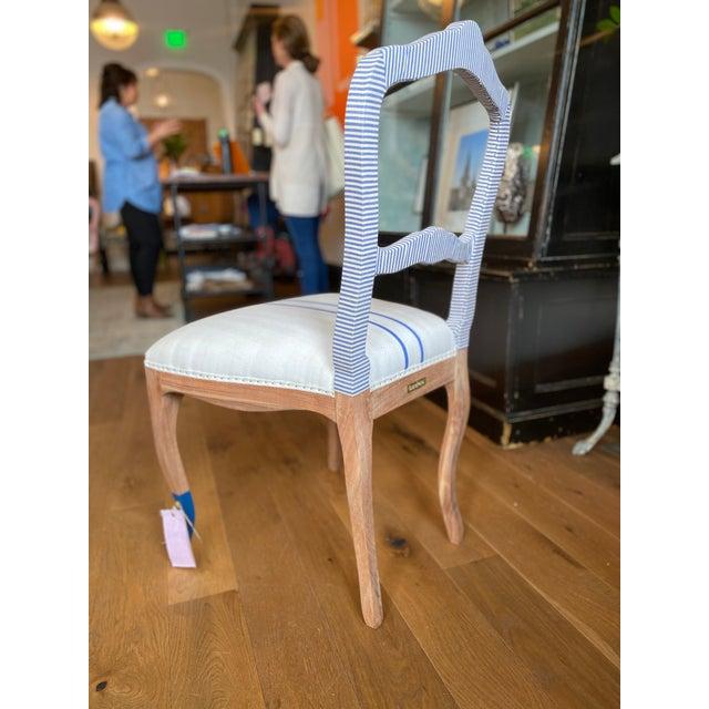 French Bunakara Fingerprint Two Stripe Side Chair in Ultra Marine For Sale - Image 3 of 6