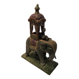 Vintage Hand Carved Wooden Elephant For Sale