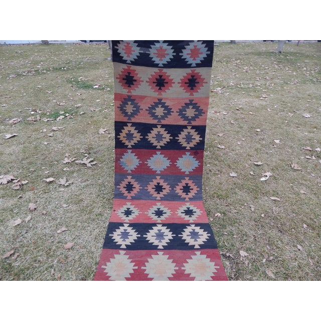 "Vintage Muted Orange Turkish Kilim Runner Rug 2'6"" X 9'4"" For Sale - Image 4 of 13"