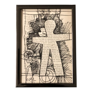 """Original Contemporary Wayne Cunningham Abstract Collaged Ink Drawing """"Hands Across America """" For Sale"""