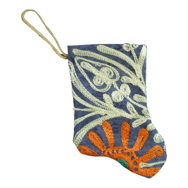 Handmade Suzani Mini Christmas Stocking Ornament - Image 1 of 4