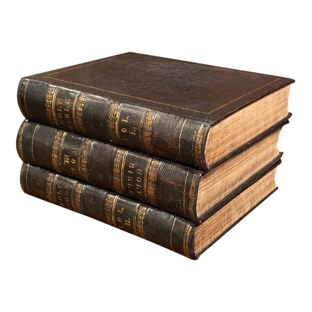 19th Century English Leather Bound and Gilt Holy Family Bible - 3 Volume Set For Sale