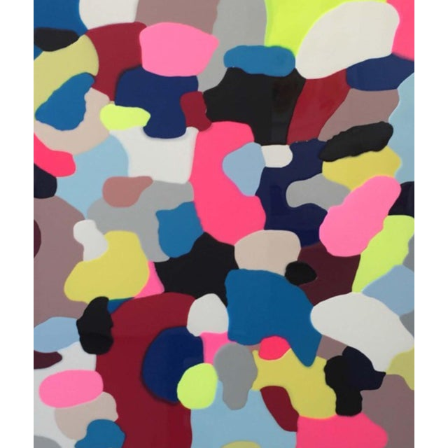 """Ray Geary, """"Pour 1"""" 2015, multicolored pigmented resin on wood signed on back."""