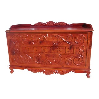 1970s Vintage Hand Carved Storage Chest Trunk For Sale