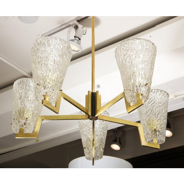 Sculptural Brass and Glass Six-Arm Hanging Light Fixture For Sale In New York - Image 6 of 9