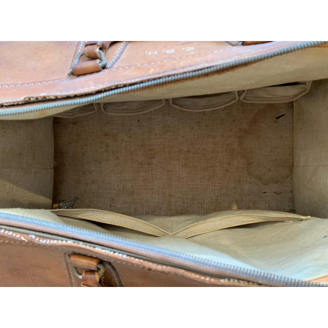 Brown Vintage Leather Luggage Bag For Sale - Image 8 of 11