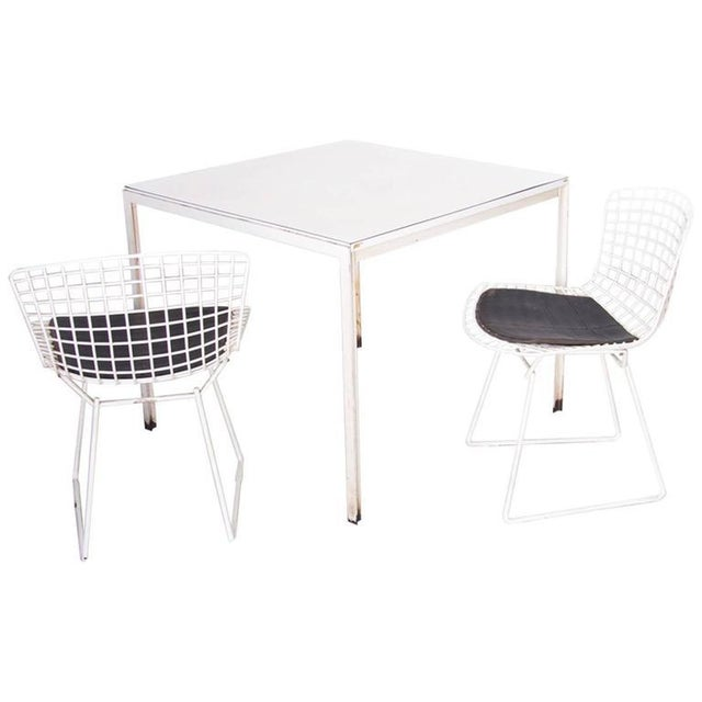 Metal Florence Knoll Dining Table Plus Two Bertoia Side Chairs For Sale - Image 7 of 7