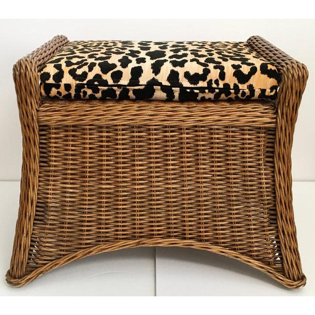 Sculptural woven rattan wicker bench with new custom leopard cheetah print cotton velvet seat cushion. This vintage stool...