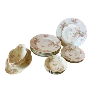 Antique Haviland & Co Limoges Pink Roses Dinnerware - Lot of 14 Pieces For Sale