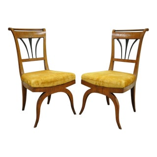 19th C Biedermeier Ebonized & Burl Walnut Curule Base Side Accent Chairs- A Pair For Sale