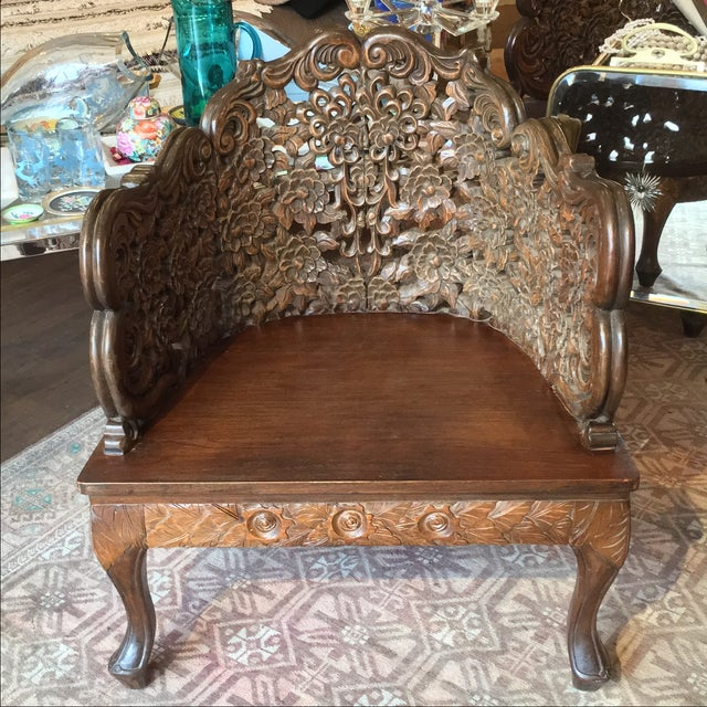 Ornately Carved Wooden Asian Accent Chair - Image 6 of 10