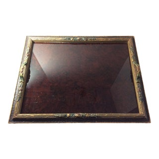 Antique Wood and Glass Serving Tray For Sale