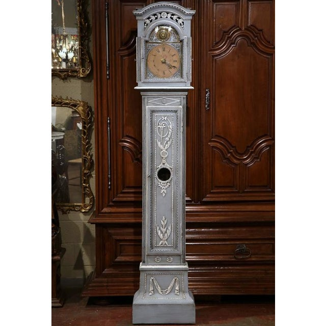 Late 18th Century French Carved Painted Grandfather Clock - Image 2 of 9