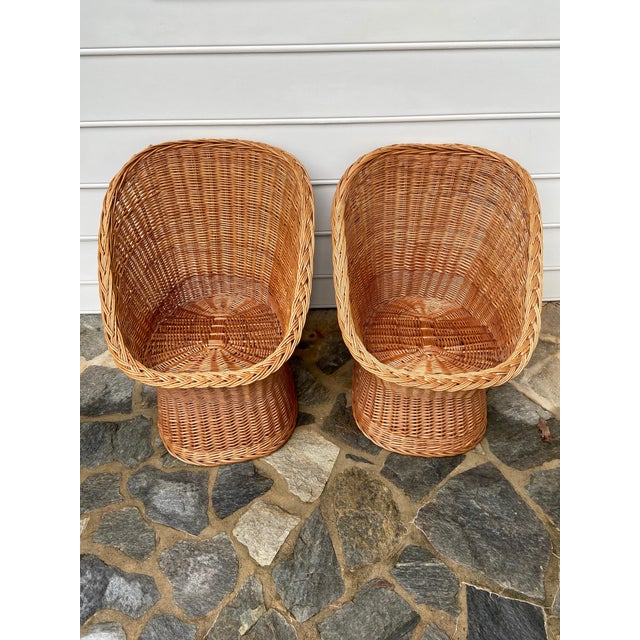 Boho Chic Vintage Boho Chic Wicker Scoop Chairs - a Pair For Sale - Image 3 of 10