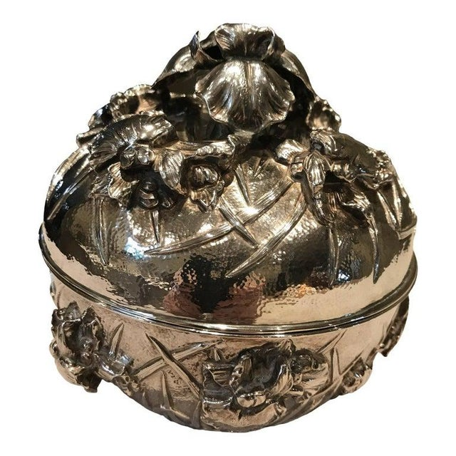 Antique Japanese Meiji Period Solid Silver Bowl With Lid For Sale - Image 9 of 9