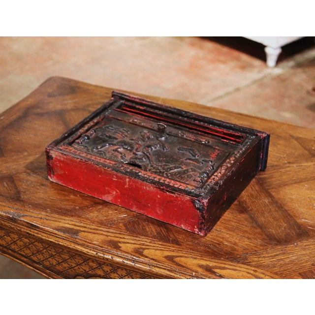 19th Century English Black Painted Cast Iron Wall Mailbox With Relief Decor For Sale - Image 9 of 10