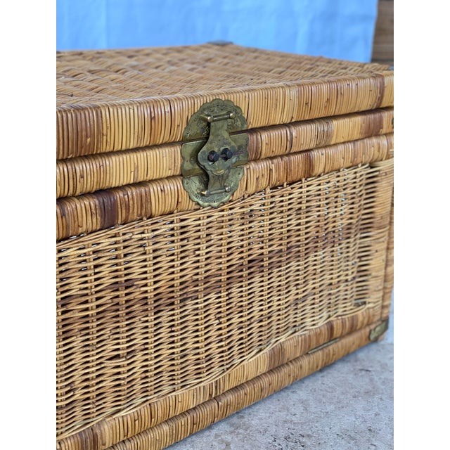 Vintage Coastal Wicker Braid Drop Down Front Trunk For Sale - Image 10 of 13