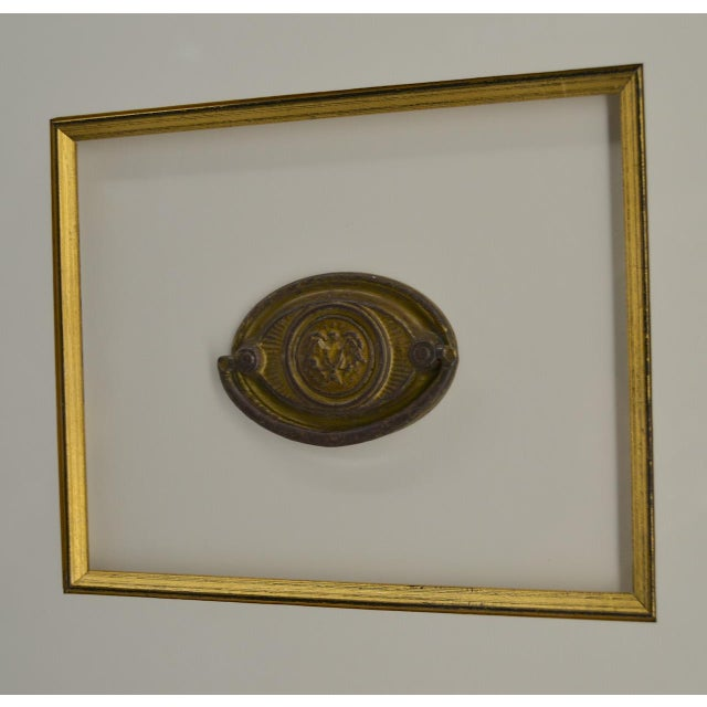 Mid 19th Century Set of 3 Gilt Federal Antique Drawer Pulls, Framed For Sale - Image 5 of 6