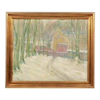 Post-Impressionist Snowy Gateway Path For Sale