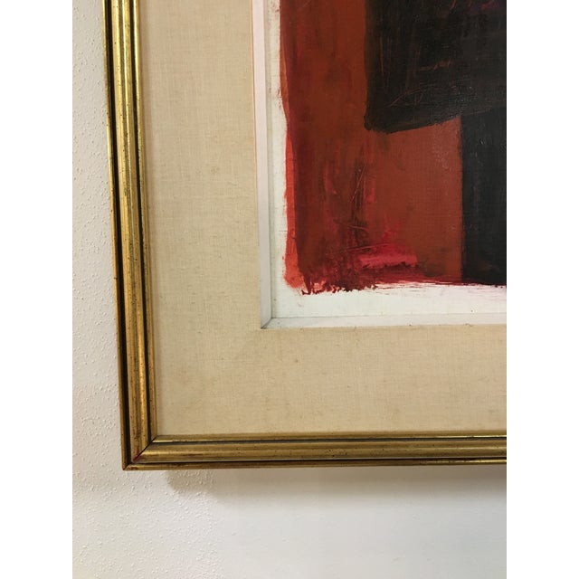 Oil on paper painting by mid-century artist Judith Bledsoe. Framed with linen mat and gilt tone frame. Features deep brick...