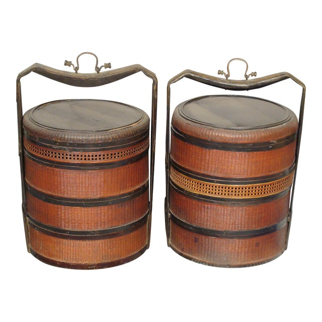 19th Century Chinese Bamboo Picnic Boxes- A Pair - Image 1 of 8