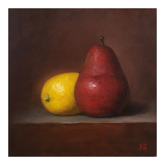 Pear and Lemon Original Oil Painting For Sale
