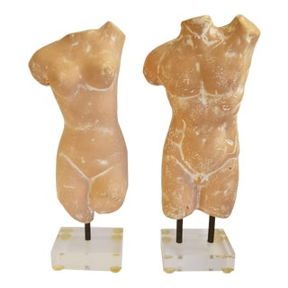 Vintage Male and Female Nude Sculptures- a Pair For Sale